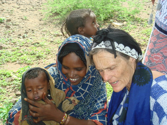 Valerie Browning with an Afar woman and her baby