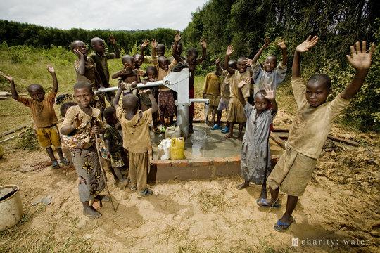 Children in Rwanda celebrate clean drinking water