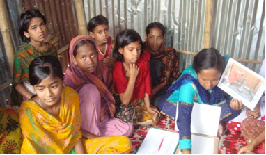 Bangladeshi Girls Attending Learning Session