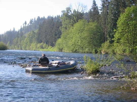 Clackamas River supports fish and recreation.