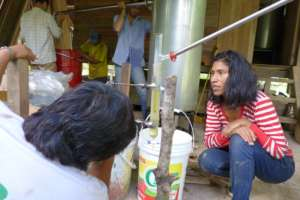 Creating charcoal while distilling essential oil