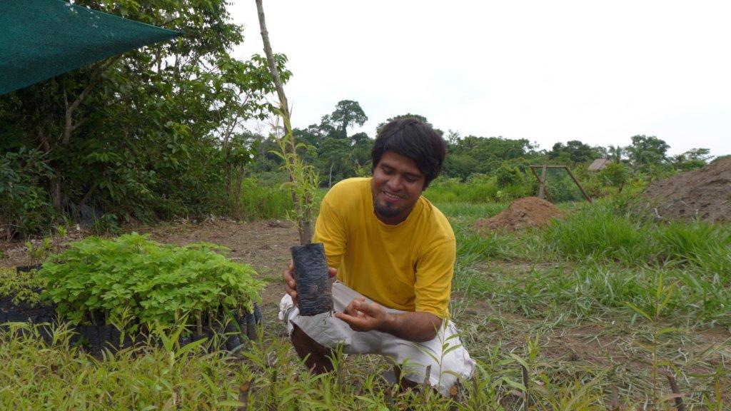 Manuel and a seedling of Salix humboldtiana