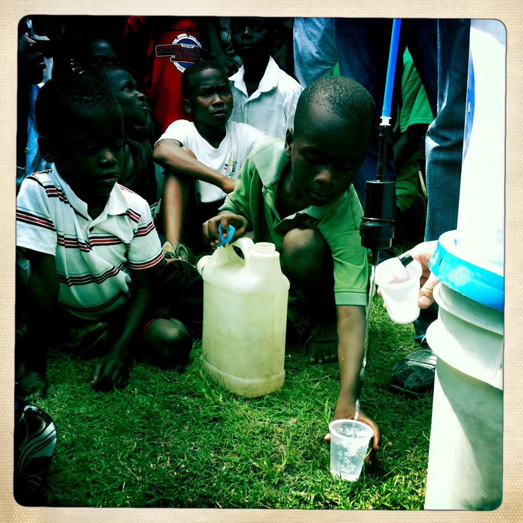 families getting water