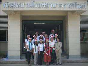 In front of the prison hospital; part of the team