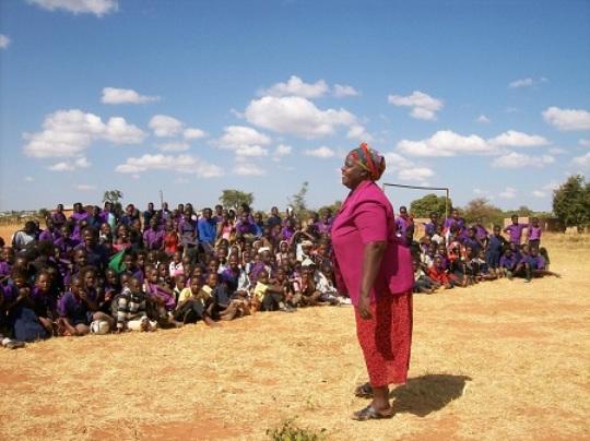 Mrs Sianga leads celebrations at School