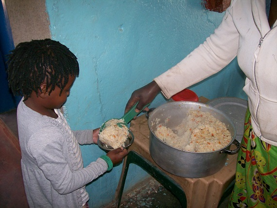 Lunchtime! 250 Children are fed each School day