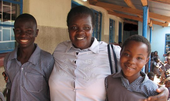 Mrs Sianga with 2 of the children