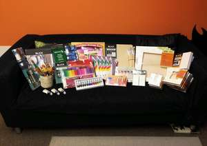 Donated supplies perfect for art support groups
