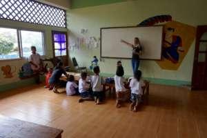 Teacher Katie at our Half Day School