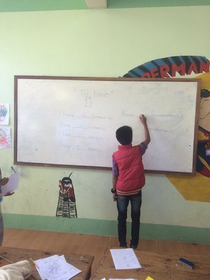 Repetition of basic English grammar in CLC class.