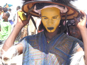 Wodaabe male gereewol dancer wearing special tunic