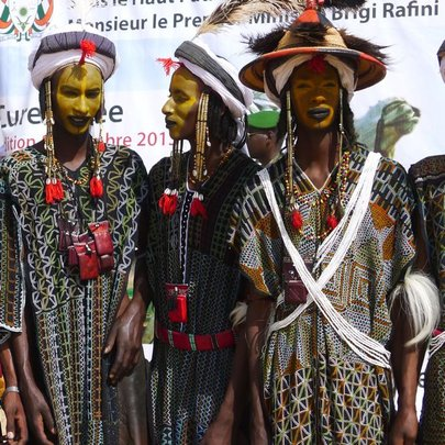Wodaabe men dance the gerewol at Cure Salee