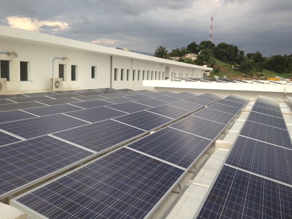 Solar panels installed at Mirebalais, May 2012