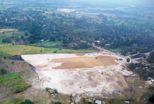 Arial view of the construction site