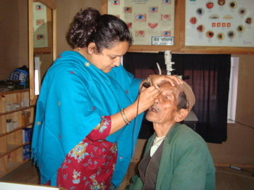 Patient undergoing eye exam