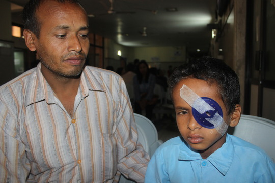 A young earthquake victim treated at Tilganga