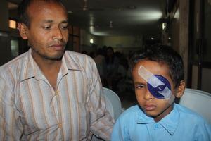 A young earthquake victim treated at Tilganga