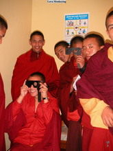 Monks at the eye clinic. Photo by Chryl Martin.