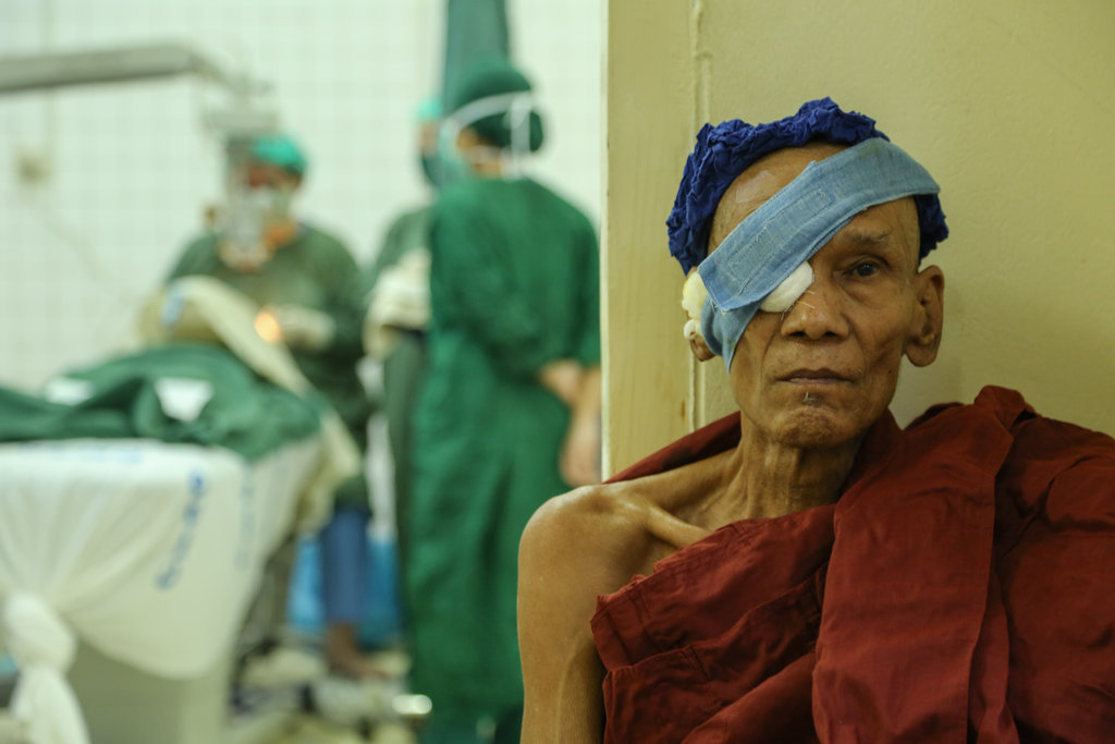 Myanmar Monk waiting for surgery