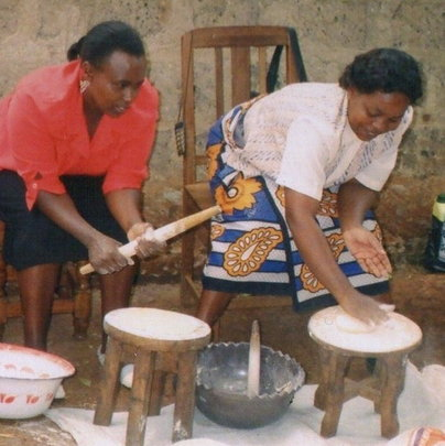 Michael:Women making cassava products