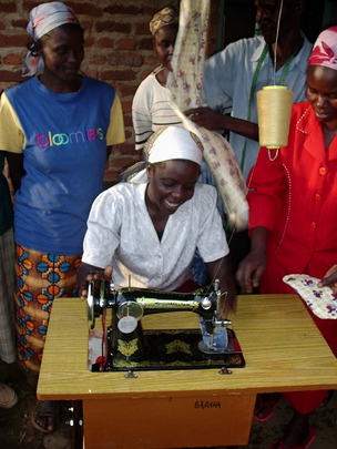 Women's group with new sewing machine