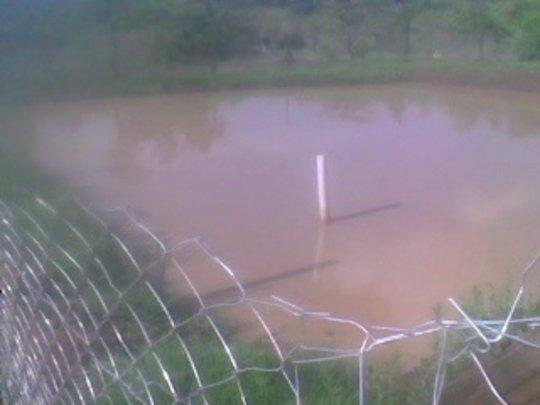 Finished fence around pond