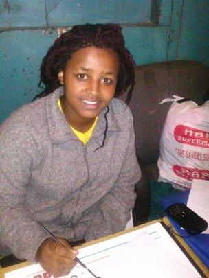 Benta at her Drawing table