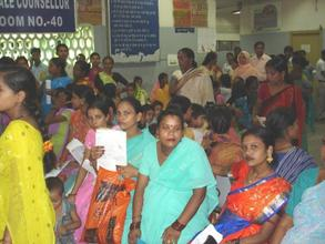 Pregnant women in the waiting room of the Antenatal Clinic