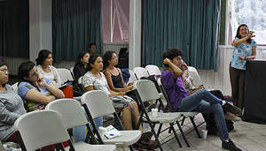 Part of the group during a lecture