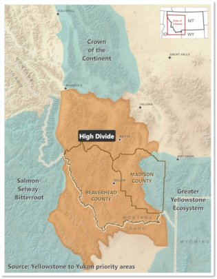 "A map of the ""High Divide"" Montana/ Idaho border"