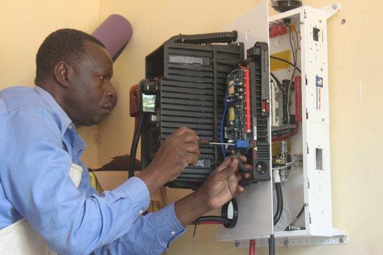 Installing inverter unit for schools solar system