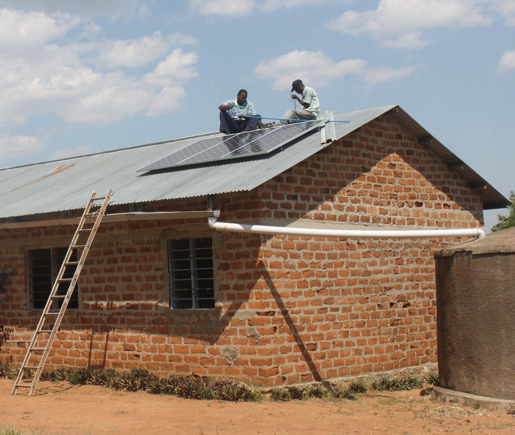 Solar panels on the roof of the school