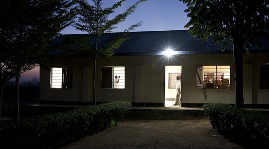 Classroom using solar lights for sutdying at night
