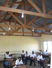 Classroom with solar powered lights.