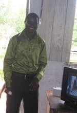 Proud teacher with TV