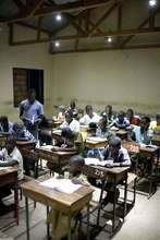 Evening study with solar-powered classroom lights