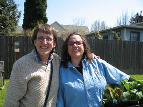 Dr. Clark (left) with garden volunteer Annie