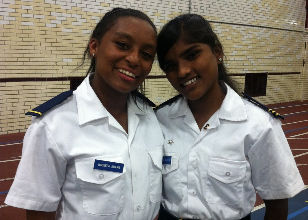 Naseefah, pictured left, in her Culver uniform