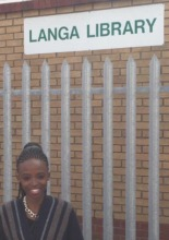 Zola at the Langa Library where she went to study
