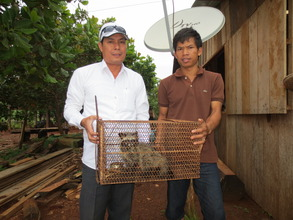 Team Leader, Sang Vanda with owner and palm civet