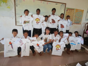 Animal t-shirts are given as prizes during games