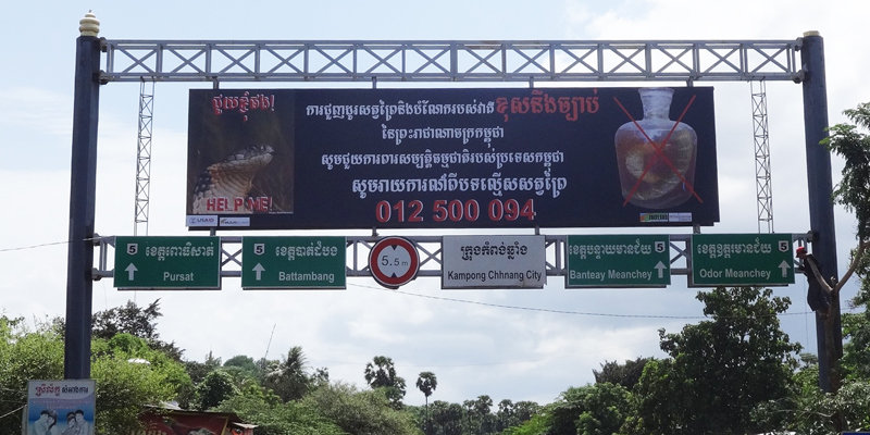 Billboard over a major highway in Cambodia