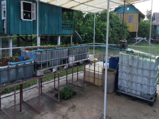 Aquaponics system made from recycled materials