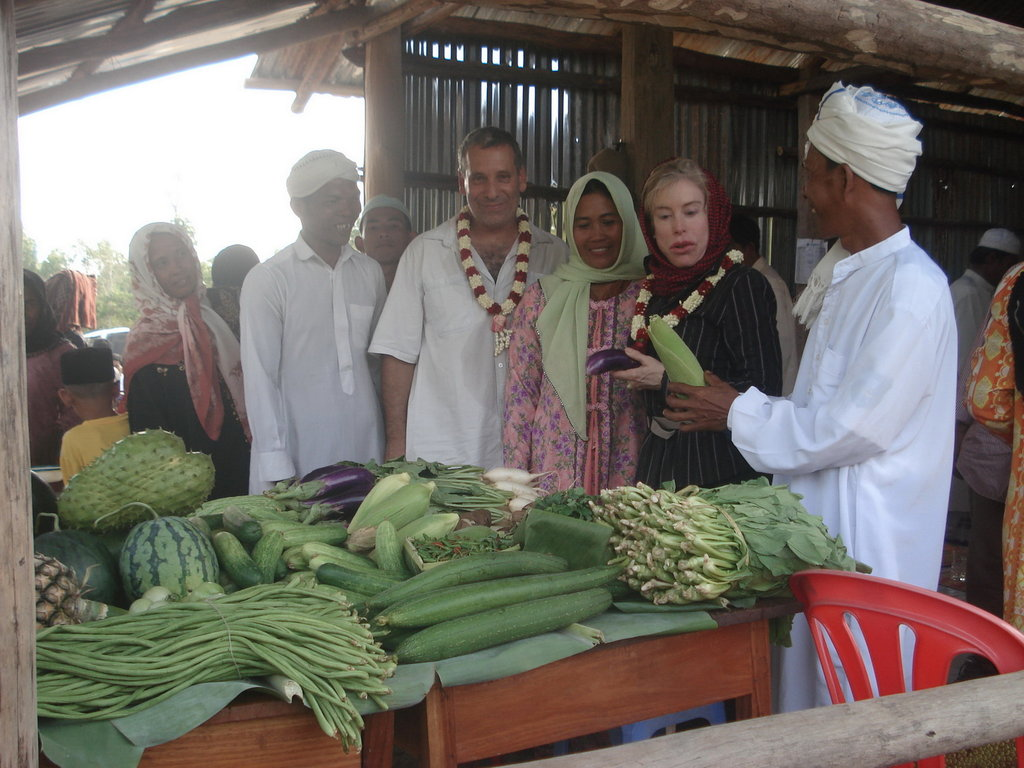 Farmers selling their products at the local market