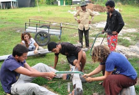 Volunteers heped build the Center