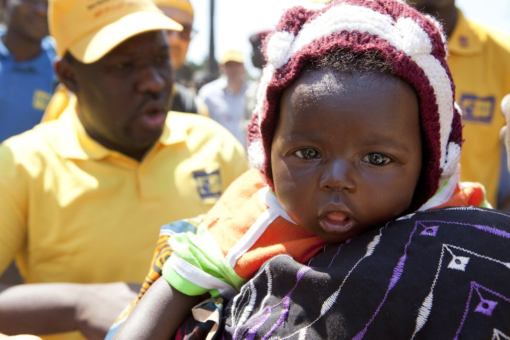 A child in Chad is immunized against polio