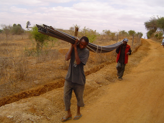 Carrying the water pipes