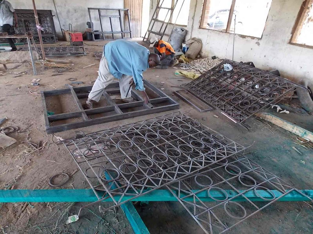 The window grates ready for installation