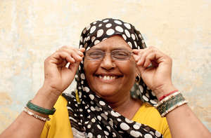 Smiling customer in India