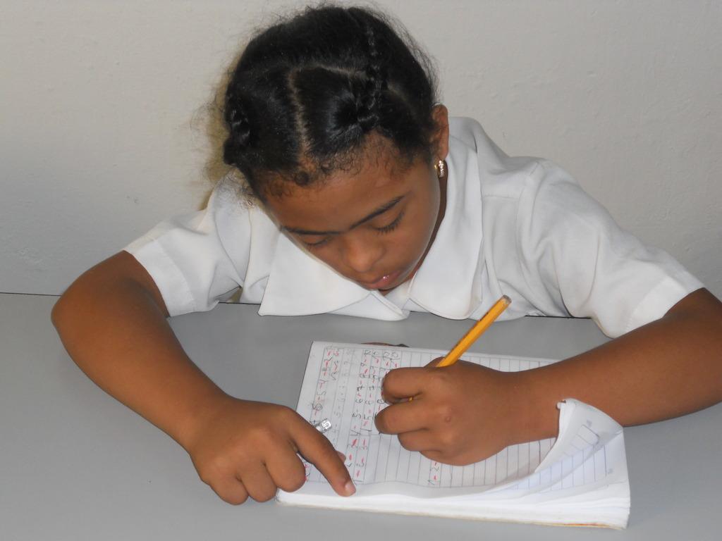 Wendy doing homework